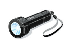 Pocket metallic touristic flashlight Stock Image