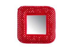 Pocket mirror. Red pocket mirror on white background Stock Photos