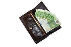 Pocket money. Six money signs on one hundred euro Stock Photos