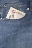 Pocket with money Stock Photography