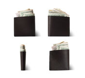 Pocket Money dollars in a brown leather purse isolated on white background Stock Photo