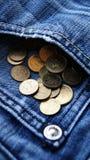 Pocket money PLN. PLN - grosz coming out of jeans pocket Stock Image
