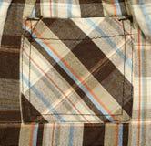 Pocket on pants with scottish tartan pattern. Royalty Free Stock Image
