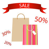 Pocket paper shopping bags tape sale Royalty Free Stock Images