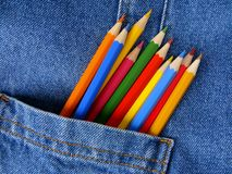 Pocket with pencils Royalty Free Stock Photo