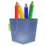 Pocket with pencils Royalty Free Stock Photography