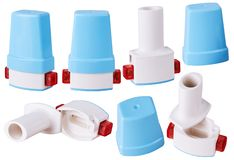 Pocket personal capsule inhaler in various positions isolated royalty free stock photos