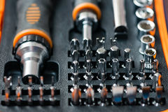 Pocket precision screwdriver set in box Royalty Free Stock Photo