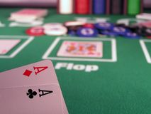 Pocket Rockets. Two aces as a starting hand in a Texas Hold'em poker game Royalty Free Stock Photography