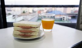 Pocket sandwich for breakfast Stock Photography