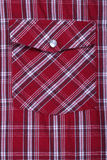Pocket on shirt in red check Stock Photo