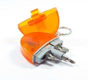 Pocket size screwdrivers. Pocket size a screwdriver keychain Royalty Free Stock Photo