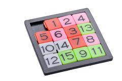 Pocket sliding fifteen puzzle game Stock Images