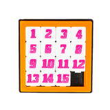 Pocket sliding fifteen puzzle game in orange color frame Royalty Free Stock Photography