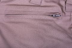 Pocket with snake close-up. Closed pocket of beige pants Stock Photos