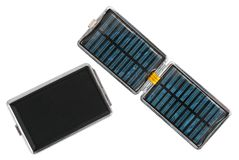 Pocket solar cell with integrated battery. Isolated white Royalty Free Stock Images