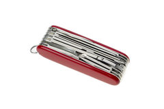Pocket swiss army knife on white Royalty Free Stock Image