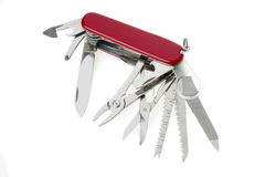 Pocket swiss army knife on white Stock Photo