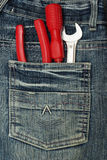 Pocket with tools Royalty Free Stock Image