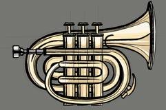 Pocket trumpet. Vector illustration of a pocket trumpet vector illustration