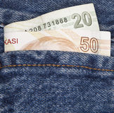 Pocket of Turkish Lira Stock Images