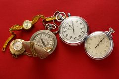 Pocket vintage watch and stopwatch Stock Image