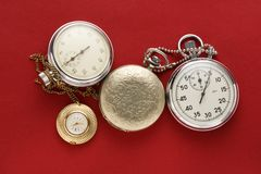 Pocket vintage watch and stopwatch Royalty Free Stock Image