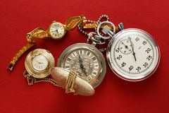 Pocket vintage watch and stopwatch Stock Images