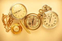 Pocket vintage watch and stopwatch Royalty Free Stock Photos