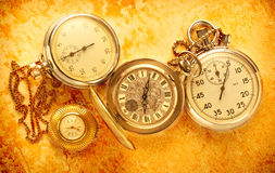 Pocket vintage watch and stopwatch Royalty Free Stock Images