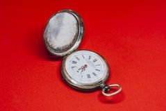 Pocket Vintage WristWatch On white Background. Old retro and Pocket Vintage WristWatch On red Background Royalty Free Stock Photo