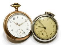 Pocket watch. Picture of the two old pocket watch isolated on the white background Stock Photos