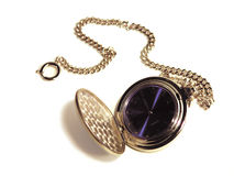 Pocket Watch. Silver pocket watch on chain stock photo