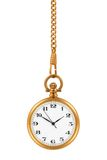 Pocket watch. Gold pocket watch and chain, isolated on the white background, clipping path included Royalty Free Stock Photos