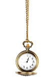 Pocket watch. Antique pocket watch on a chain with open lid Stock Images