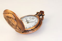 Pocket Watch. Railroad style pocket watch open on a white background royalty free stock photography