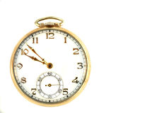 Pocket Watch. Gold pocket watch on white baclground stock image