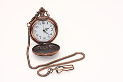 Pocket Watch. Old railroad pocket watch with chain on white stock images