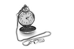 Pocket Watch. Old railroad pocket watch with chain on white stock photography
