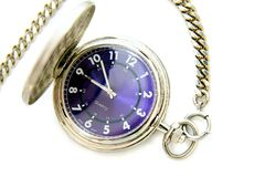 Pocket watch. With blue face and chain Royalty Free Stock Photography