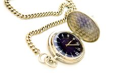 Pocket watch. With blue face and chain Stock Images