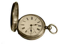 Pocket watch. Fob pocket watch with open cover, isolated on white background Royalty Free Stock Images