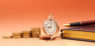 Free Pocket Watch And Coins Stock Photos - 66310943