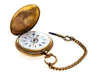 Pocket Watch Antique Golden. On white background Stock Photography