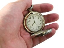 Pocket watch in the arm. 8 c'clock. time concept. Pocket watch object in the arm isolated on white. time concept Royalty Free Stock Photography