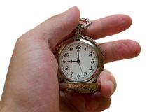 Pocket watch in the arm. 9 c'clock. time concept. Pocket watch object in the arm isolated on white. time concept Royalty Free Stock Images