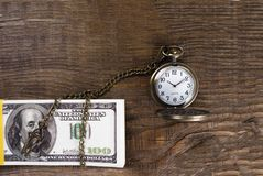 Pocket watch associated with cash in the tree. Time is money. Copy paste Stock Images