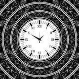 Old watch black background vector illustration