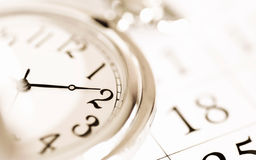 Pocket watch and calendar Royalty Free Stock Photography