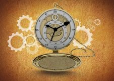 Pocket watch clock against brown background with cog wheel illustrations Royalty Free Stock Images